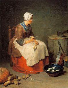 Une domestique pelures pommes de terre pour dîner.