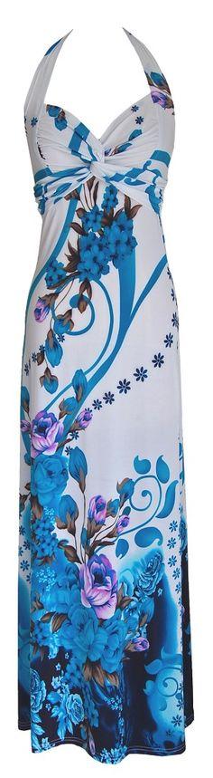White Black & Turquoise Floral Halter Maxi Dress