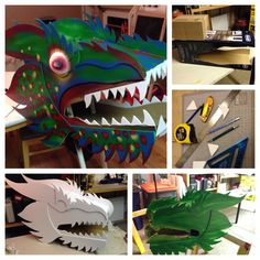 Chinese dragon head for my wife's classroom. Made by Todd Van Fleet. Made of cardboard and foam core with lots of hot glue. Painted with spray paint.