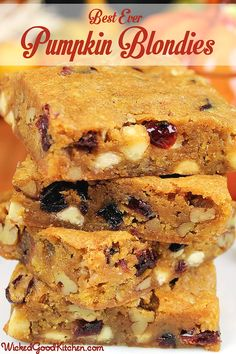 Best Ever Pumpkin Spice Blondies by WickedGoodKitchen.com ~ Buttery, chewy, gooey and fudgy like brownies! The secret is the ingredients ratio and pumpkin butter for an ideal texture and concentrated flavor with white chocolate chips, dried cranberries and toasted pecans stirred in. Includes gluten free option. #fall #pumpkin #dessert #bars #recipe