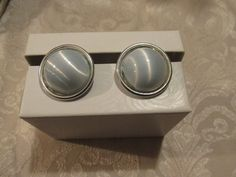 Clip on Earrings Ice Blue Button Fashion Jewelry Earrings Silver toned Vintage #unknown #Cluster