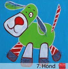 Kinderschilderij Hond. Dit kleurrijke schilderijtje is leuk als decoratie voor de muur op de babykamer.