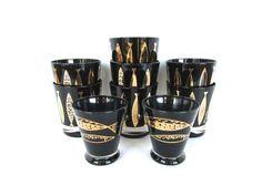 9 Vintage Fred Press Fish Glasses, Black And Gold Barware, Hollywood Regency Rocks Glasses, 22kt Gold Barware, Swanky Scotch Glasses by HerVintageCrush on Etsy