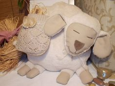 puffy sheep OLY  baby shower gift  stuffed by MadeByMiculinko, $78.00