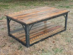 Hand forged iron and reclaimed barn wood Coffee Table. My iron shelving could be cut down to make these.