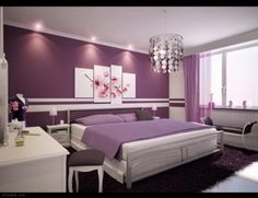 Decorating Ideas For Purple Bedroom- love the idea of having a purple accent wall. I am looking into a deeper purple bluish shade.