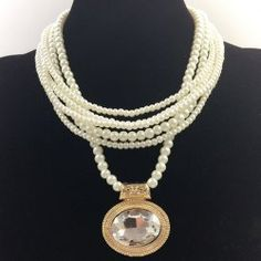 Elegant Gemstone Embellished Multi-Layered Faux Pearl Chain Necklace For Women