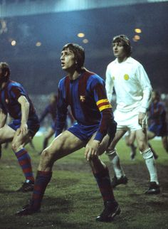 9th April 1975. Leeds United 2-1 Barcelona, European Cup Semi Final 1st Leg. Johan Cruyff and Allan Clarke in picture