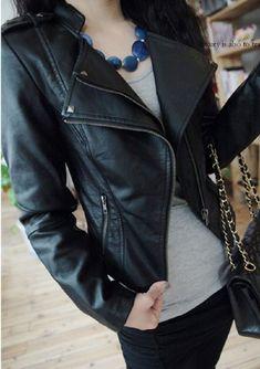 Fashion Black Slim Leather Rivet Jacket just $42.99 in ByGoods.com