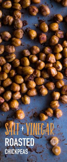 Salt and Vinegar Roasted Chickpeas. An easy healthy snack inspired by everyone's favorite potato chip flavor!