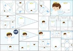 Here a pretty Free Printable Kit , very complete , with a nice Angel Design in Light Blue, for your First Communion . First Communion Banner, First Communion Decorations, First Communion Favors, First Communion Invitations, First Holy Communion, Party Printables, Free Printables, Boy Christening, Baptism Party