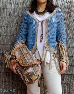 crochelinhasagulhas: Poncho ou blusa em crochê da marca Bo-M