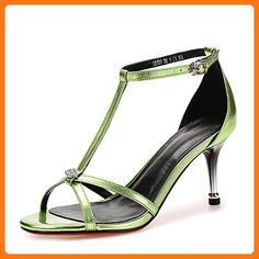 RUGAI-UE Summer Buckle With Bare Feet Pure Color Hollow Leather High Heel Sandals Fine Heel Female,Thirty-Six,Green (*Partner Link)