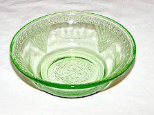 "Depression Glass - Federal - Georgian Lovebirds - Green Berry Bowls 4 1/2"" - Set of 7"