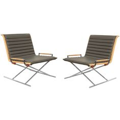 """Pair of """"Sled Chairs"""" by Ward Bennett for Brickell ca1970's"""