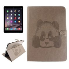 For+iPad+Air+2/iPad+6+Grey+Embossed+Panda+Leather+Case+with+Holder,+Card+Slots+&+Wallet