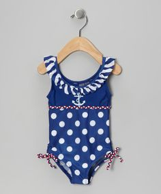 Take a look at this Blue & White Polka Dot Ruffle One-Piece - Infant, Toddler & Girls by Rugged Bear on #zulily today!