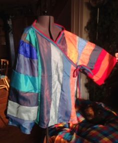 Made by Meg McKenzie - jacket in warming stripes for climate storyteller or hotseating