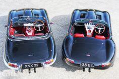 Jaguar E-Type Convertible & Eagle Lightweight E-Type Speedster British Sports Cars, Classic Sports Cars, Classic Cars, Classic Style, Jaguar Xk8, Jaguar E Type, Jaguar Cars, Sidecar, Type E