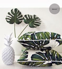 we've got this white pineapple and monstera leaves, and now we have tropical pillows Interior Tropical, Design Tropical, Tropical Home Decor, Tropical Pattern, Tropical Houses, Modern Tropical, Tropical Prints, Tropical Colors, Palm Print