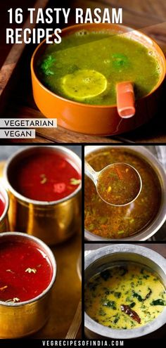 collection of 16 tasty south indian rasam varieties Veg Recipes Of India, Indian Veg Recipes, Paneer Recipes, Curry Recipes, Soup Recipes, Vegetarian Recipes, Cooking Recipes, Delicious Recipes, Recipies