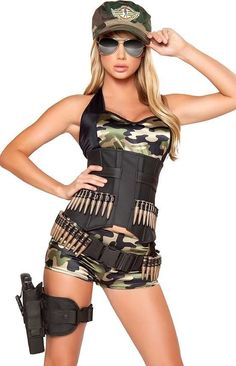 Sexy Womens Army Military Cadet Camouflage Outfit Adult Halloween Costume NEW in…