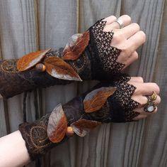 Midnight Forest Cuffs Steampunk Fairy Cuffs Vintage by folkowl