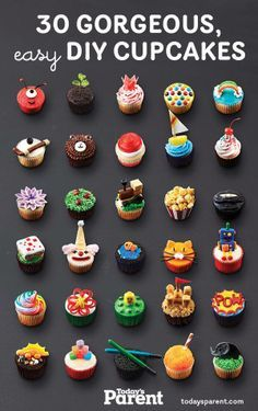 Petits gâteaux à gogo - Cupcake Party Ideen - Cupcakes Cupcake Party, Cookies Cupcake, Kid Cupcakes, Cupcake Cakes, Cupcake Frosting, Birthday Cupcakes, Monster Cupcakes, Easy Animal Cupcakes, Cupcake Ideas Birthday