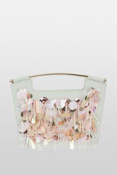 Cartera mint suave con pedrería en rosa palo. · Bag in pastel colors. Del Pozo