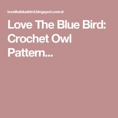 Love The Blue Bird: Crochet Owl Pattern...