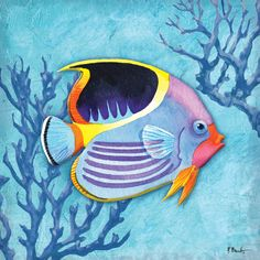 Portfolio Canvas Decor Paul Brent 'Azure Tropical Fish I' Framed Canvas Wall Art (Set of Colorful Fish, Tropical Fish, Canvas Art Prints, Canvas Wall Art, Framed Canvas, Fish Drawings, Fish Art, Fish Wall Art, Beach Art