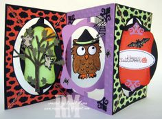 Raquel mason using the Pop it Ups Katie  Oval Accordions, All Seasons Tree, Poppy the Owl and Oval Clouds Frame Edges by Karen Burniston for Elizabeth Craft Designs - Raquel's Stampin' Blog: Poppy's Halloween