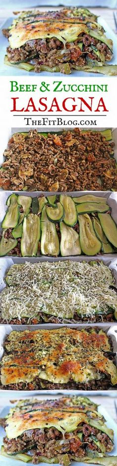 This beef and zucchini lasagna is a healthy and tasty alternative to normal lasagna. You don't need pasta or a heavy sauce, so it's a great recipe for a fitness diet.