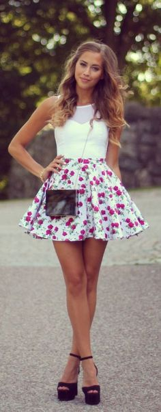 Floral Short Skirt, White Top Fab. #Sabelline