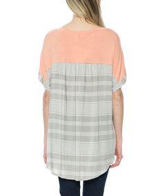 Love this Peach Contrast Pocket Scoop Neck Tunic on #zulily! #zulilyfinds