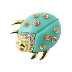 Pre-Owned Hattie Carnegie Good Luck Ladybug Brooch (6.340 RUB) ❤ liked on Polyvore featuring jewelry, brooches, rhinestone brooches, gold tone jewelry, rhinestone pins brooches, pre owned jewelry and clear jewelry