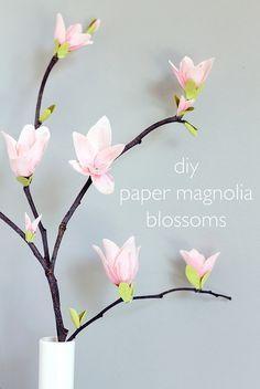 DIY Papel Magnolia Blossoms
