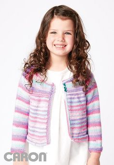 Any girl will be all smiles wearing this knitted cardigan! Shown in Caron Simply Soft Stripes yarn, in the Times Square colorway. Shrug Knitting Pattern, Knit Shrug, Crochet Cardigan Pattern, Baby Knitting Patterns, Crochet Hoodie, Crochet Baby Cardigan, Crochet Coat, Best Cardigans, Caron Yarn