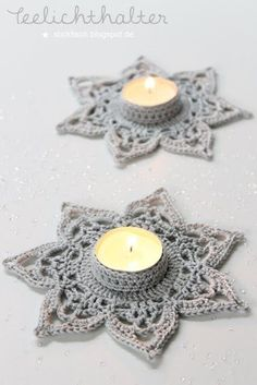 ★ nordahage - living, cooking, do it yourself: Crocheted Teelichthalter Crochet Diy, Crochet Motifs, Crochet Home, Crochet Gifts, Crochet Stitches, Crochet Stars, Crochet Snowflakes, Crochet Flowers, Crochet Christmas Decorations
