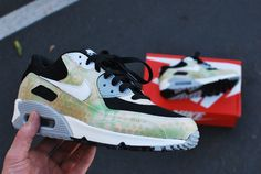 Camo Nike Air Max 90 Running Shoes - Hand Painted