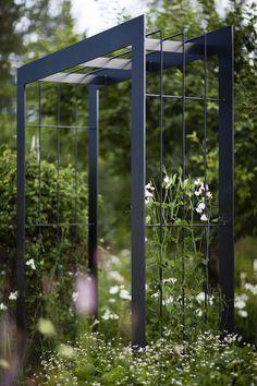 Herb Garden Pallet, Garden Arbor, Metal Garden Art, Metal Pergola, Cheap Pergola, Backyard Pergola, Pergola Kits, Metal Roof, Building A Pergola