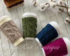 Excited to share this item from my #etsy shop: Coffee Cup Cozy, Knit Cup Cozy Hand Knitting, Knitting Patterns, Coffee Cup Cozy, Ceramic Coffee Cups, Knit Or Crochet, Wonder Woman, Stocking Stuffers, Teacher Gifts, Cozy Knit