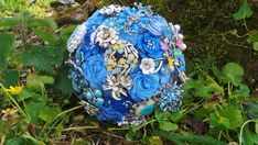 Blue Brooch bouquet - part of the sample sale now on at www.mossandmushroom.com