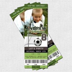 Personalized Birthday Party SOCCER TICKET Invitations