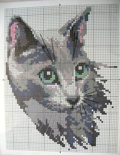 GRAFICOS PUNTO DE CRUZ GRATIS : GATOS -- GREY CAT -- PG 3 OF 3