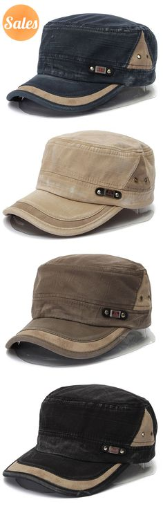 Unisex Cotton Blend Military Washed Baseball Cap Vintage Army Plain Flat Cadet Hat For Men Women. #fashion #outfits