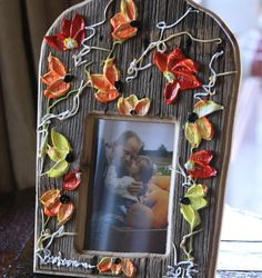 """Barbara Scharpf Originals"" Picture frame: Such a wonderful piece of art/design. Painted on barn wood, just perfect to make a lovely custom gift. #art #design #wood #woodcraft #picture #photo #frame #furniture #colorful #love #passion #flowers #style #beautiful #elegant, #barnwood, #flowers, #Painting, #original, #palette knife,"