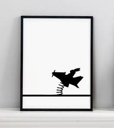 MadeJustSo - Ham Flying Rabbit Print #elds #coolprints #eastlondondesignstore www.eastlondondesignstore.com