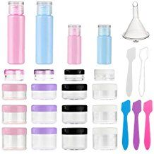 Accmor 20 Pieces Empty Plastic Sample Containers and Bottle Set, Travel Size Clear Cosmetic Pot Jars with Lids, Bottle with Cap for Liquids (with 5 Spatula + 1 funnel) Kokie Cosmetics, Benefit Cosmetics, White Noise Sound, Led Reading Light, Pretty Knives, Kitchen Canister Sets, Makeup Samples, Travel Bottles, Gas And Electric