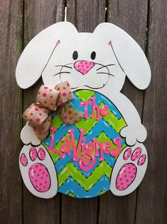 Easter Bunny Wooden Door Hanger Burlap Personalized by Earthlizard, $45.00